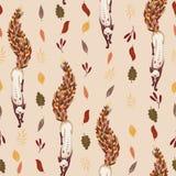 Modelo inconsútil Fox con la cola de las hojas de otoño caidas Caída de la hoja En un fondo beige ligero Caída de la hoja ilustración del vector