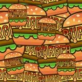 Modelo inconsútil fresco con las hamburguesas de la historieta Illustrati del vector Imagen de archivo libre de regalías