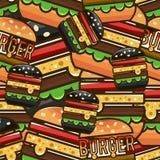 Modelo inconsútil fresco con las hamburguesas de la historieta Illustrati del vector Fotos de archivo