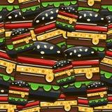 Modelo inconsútil fresco con las hamburguesas de la historieta Illustrati del vector Fotos de archivo libres de regalías