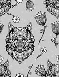 Modelo inconsútil gótico del estilo de Wolf Vintage Diseño del tatuaje del carácter Cubierta animal floral, camiseta del verano,  ilustración del vector