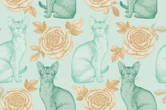 Modelo inconsútil Gatos y rosas Impresión de la hoja de la menta y de oro Foto de archivo libre de regalías