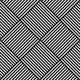 Modelo inconsútil geométrico abstracto del vector Tela de materia textil que teje con las líneas rectas cruzadas blancos y negros Imagen de archivo