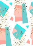Modelo inconsútil geométrico abstracto en el rosa del blanco, del oro, azul y en colores pastel Textura dibujada mano del vintage stock de ilustración