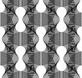 Modelo inconsútil geométrico blanco y negro con la línea ondulada, resumen Imagen de archivo