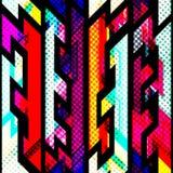 Modelo inconsútil geométrico brillante con efecto del grunge ilustración del vector