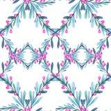 Modelo inconsútil geométrico de la acuarela con las hojas y las bayas Año Nuevo Feliz Navidad Ilustración de la celebración lata ilustración del vector