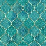 Modelo inconsútil geométrico del extracto de la acuarela Tejas árabes Efecto del caleidoscopio Mosaico de la acuarela ilustración del vector
