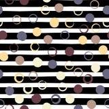 Modelo inconsútil geométrico del vector lindo Lunares y rayas Movimientos del cepillo Textura dibujada mano del grunge Extracto Imágenes de archivo libres de regalías