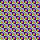 Modelo inconsútil geométrico, ilusión óptica, fondo del vector Ornamento de los cuadrados brillantes multicolores del contraste,  Foto de archivo libre de regalías