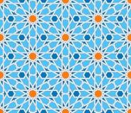 Modelo inconsútil geométrico islámico Ornamento turco, arte árabe oriental tradicional Mosaico musulmán Vector colorido stock de ilustración