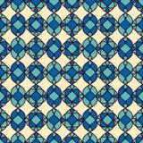modelo inconsútil geométrico Modelo inconsútil Fondo azul poner crema Imagenes de archivo