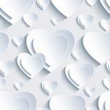 Modelo inconsútil gris con los corazones 3d para la tarjeta del día de San Valentín del día Foto de archivo