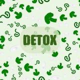 Modelo inconsútil hecho de las hojas del bróculi, con el detox dibujado mano de la palabra Foto de archivo libre de regalías