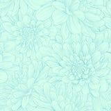 Modelo inconsútil hermoso con las flores azules de la dalia Imagen de archivo libre de regalías