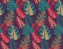 Modelo inconsútil hermoso con las hojas de palma ropical de la selva ilustración del vector