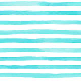 Modelo inconsútil hermoso con las rayas azules de la acuarela movimientos pintados a mano del cepillo, fondo rayado Ilustración d Imagen de archivo libre de regalías
