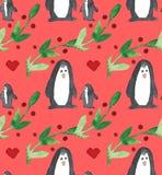 Modelo inconsútil hermoso de la acuarela con los pingüinos, los corazones, las bayas y las hojas ilustración del vector