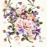 Modelo inconsútil hermoso del papel pintado con las flores color de rosa ilustración del vector