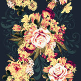 Modelo inconsútil hermoso del papel pintado con las flores color de rosa stock de ilustración