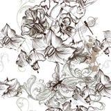 Modelo inconsútil hermoso del papel pintado floral con las flores ilustración del vector