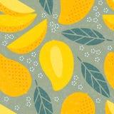 Modelo inconsútil Hojas y flores jugosas de las frutas del mango stock de ilustración