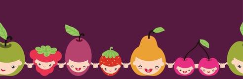 Modelo inconsútil horizontal de los caracteres felices de la fruta Foto de archivo libre de regalías