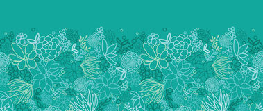 Modelo inconsútil horizontal de los succulents verdes Fotos de archivo libres de regalías
