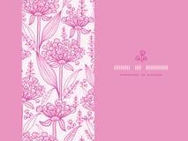 Modelo inconsútil horizontal del lineart rosado de los lillies Imagen de archivo libre de regalías