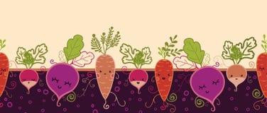 Modelo inconsútil horizontal feliz de las verduras de raíz Imagen de archivo libre de regalías