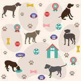 Modelo inconsútil, iconos del perro, papel pintado Foto de archivo