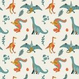 Modelo incons?til infantil lindo del vector con el t-rex con los huevos, decoraci?n de los dinosaurios Pterod?ctilo divertido de  fotos de archivo