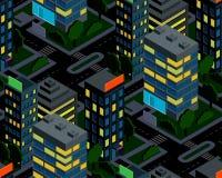 Modelo inconsútil isométrico de la ciudad de la noche Fotografía de archivo