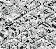 Modelo inconsútil isométrico de los bloques urbanos de la ciudad - medio libre illustration
