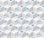 Modelo inconsútil isométrico de los cubos azules blancos stock de ilustración