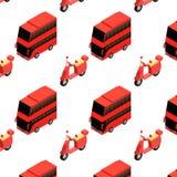 Modelo inconsútil isométrico del autobús y del ciclomotor Libre Illustration