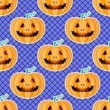 Modelo inconsútil jackolantern del feliz Halloween Calabaza de la linterna de Jack con las medias negras de la red Ilustración de Fotografía de archivo
