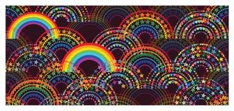 Modelo inconsútil japonés colorido de la media estrella del amor del arco iris medio stock de ilustración