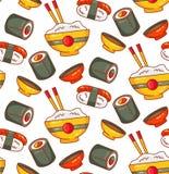 Modelo inconsútil japonés del vector del rollo de sushi de los iconos de la comida foto de archivo