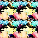 Modelo inconsútil La acuarela salpica Manchas blancas /negras multicoloras stock de ilustración