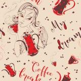 Modelo inconsútil La muchacha bebe el café Café-rotura Mi sueño Letras elegantes Pote del café y taza de café Grano de café Vecto ilustración del vector