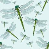 Modelo inconsútil libélulas Insectos realistas ilustración del vector