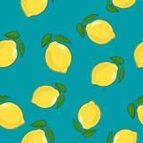 Modelo inconsútil, limón en Azure Background Fotos de archivo libres de regalías
