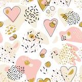 Modelo inconsútil lindo abstracto con los corazones pintados caóticos Textura del vector del día del ` s de la tarjeta del día de stock de ilustración