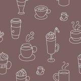Modelo inconsútil lindo colorido de las tazas de café Fotos de archivo