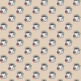 Modelo inconsútil lindo colorido de las tazas de café Fotografía de archivo