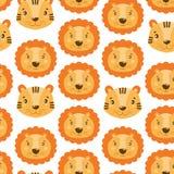 Modelo inconsútil lindo con la cara del león y del tigre En el fondo blanco stock de ilustración