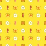 Modelo inconsútil lindo con la tostada, el tocino y los huevos Comida de la historieta y fondo de la bebida en vector libre illustration