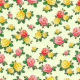 Modelo inconsútil lindo con las rosas Foto de archivo