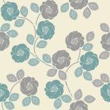 Modelo inconsútil lindo con las rosas y las hojas blandas stock de ilustración